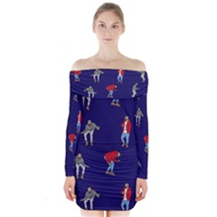 Drake Ugly Holiday Christmas Long Sleeve Off Shoulder Dress