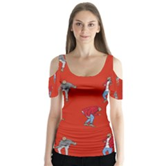 Drake Ugly Holiday Christmas   Butterfly Sleeve Cutout Tee
