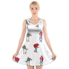 Drake Ugly Holiday Christmas V-Neck Sleeveless Skater Dress