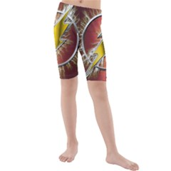 Flash Flashy Logo Kids  Mid Length Swim Shorts