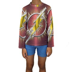 Flash Flashy Logo Kids  Long Sleeve Swimwear