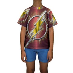 Flash Flashy Logo Kids  Short Sleeve Swimwear