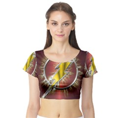 Flash Flashy Logo Short Sleeve Crop Top (Tight Fit)
