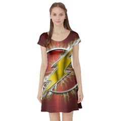 Flash Flashy Logo Short Sleeve Skater Dress