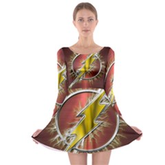 Flash Flashy Logo Long Sleeve Skater Dress
