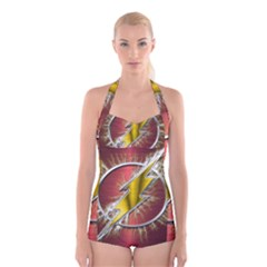 Flash Flashy Logo Boyleg Halter Swimsuit