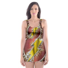 Flash Flashy Logo Skater Dress Swimsuit