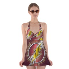 Flash Flashy Logo Halter Swimsuit Dress
