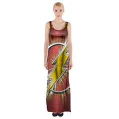 Flash Flashy Logo Maxi Thigh Split Dress