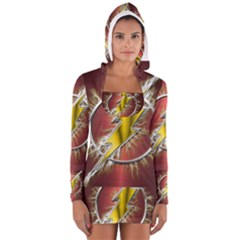 Flash Flashy Logo Women s Long Sleeve Hooded T-shirt
