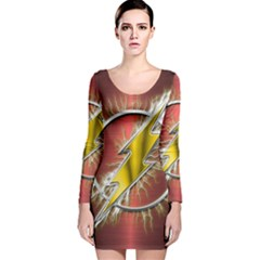 Flash Flashy Logo Long Sleeve Velvet Bodycon Dress