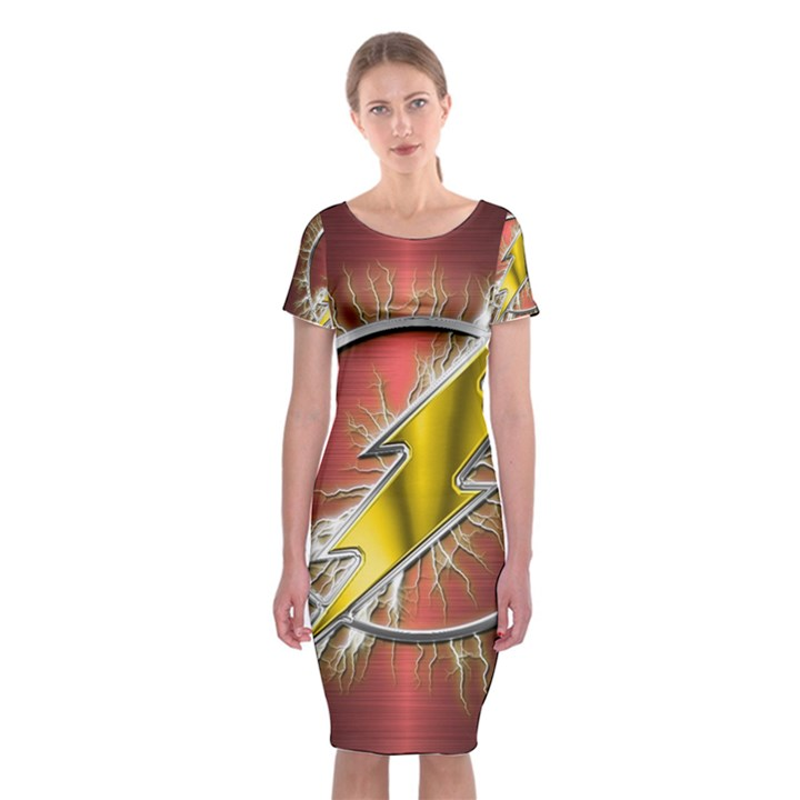 Flash Flashy Logo Classic Short Sleeve Midi Dress
