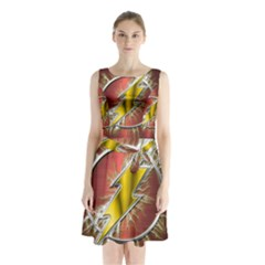 Flash Flashy Logo Sleeveless Chiffon Waist Tie Dress