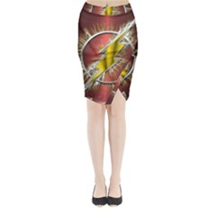 Flash Flashy Logo Midi Wrap Pencil Skirt