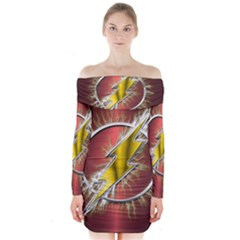 Flash Flashy Logo Long Sleeve Off Shoulder Dress