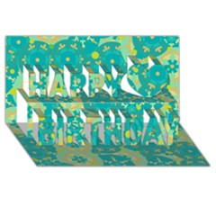 Cyan design Happy Birthday 3D Greeting Card (8x4)