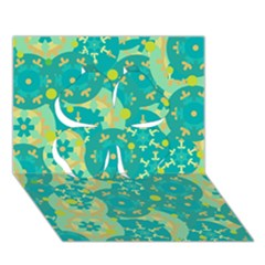 Cyan design Clover 3D Greeting Card (7x5)