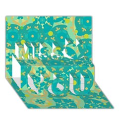 Cyan design Miss You 3D Greeting Card (7x5)