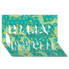 Cyan design Happy New Year 3D Greeting Card (8x4)
