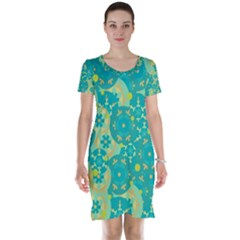 Cyan design Short Sleeve Nightdress