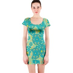 Cyan design Short Sleeve Bodycon Dress