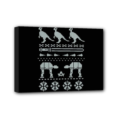 Holiday Party Attire Ugly Christmas Black Background Mini Canvas 7  x 5