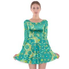 Cyan design Long Sleeve Skater Dress