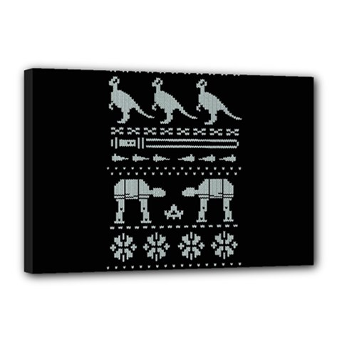 Holiday Party Attire Ugly Christmas Black Background Canvas 18  X 12