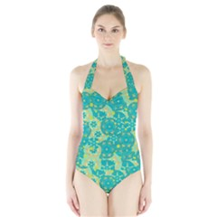 Cyan design Halter Swimsuit