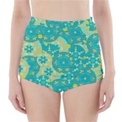 Cyan design High-Waisted Bikini Bottoms