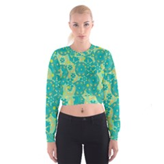 Cyan design Women s Cropped Sweatshirt
