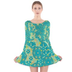 Cyan design Long Sleeve Velvet Skater Dress