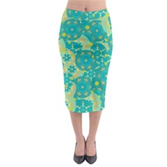 Cyan design Midi Pencil Skirt