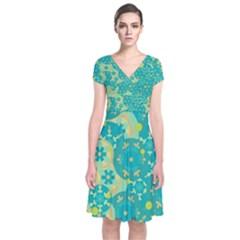 Cyan design Short Sleeve Front Wrap Dress