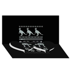 Holiday Party Attire Ugly Christmas Black Background Twin Heart Bottom 3D Greeting Card (8x4)