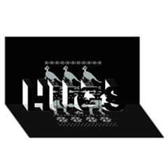 Holiday Party Attire Ugly Christmas Black Background HUGS 3D Greeting Card (8x4)