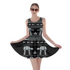 Holiday Party Attire Ugly Christmas Black Background Skater Dress