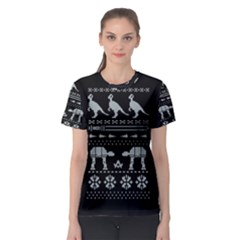 Holiday Party Attire Ugly Christmas Black Background Women s Sport Mesh Tee