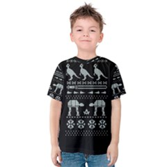 Holiday Party Attire Ugly Christmas Black Background Kids  Cotton Tee