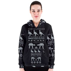 Holiday Party Attire Ugly Christmas Black Background Women s Zipper Hoodie