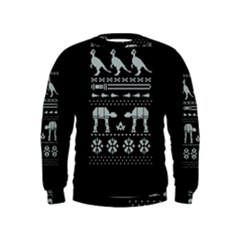 Holiday Party Attire Ugly Christmas Black Background Kids  Sweatshirt