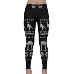 Holiday Party Attire Ugly Christmas Black Background Classic Yoga Leggings
