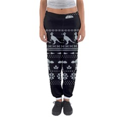 Holiday Party Attire Ugly Christmas Black Background Women s Jogger Sweatpants