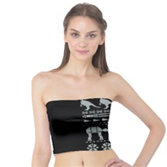 Holiday Party Attire Ugly Christmas Black Background Tube Top