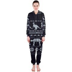 Holiday Party Attire Ugly Christmas Black Background Hooded Jumpsuit (Ladies)