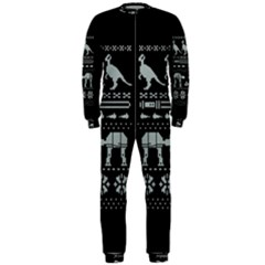 Holiday Party Attire Ugly Christmas Black Background Onepiece Jumpsuit (men)