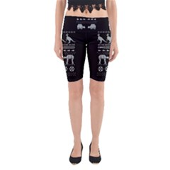 Holiday Party Attire Ugly Christmas Black Background Yoga Cropped Leggings