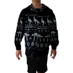 Holiday Party Attire Ugly Christmas Black Background Hooded Wind Breaker (Kids)