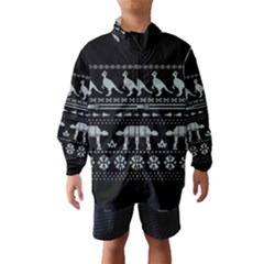 Holiday Party Attire Ugly Christmas Black Background Wind Breaker (Kids)
