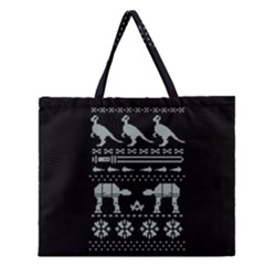 Holiday Party Attire Ugly Christmas Black Background Zipper Large Tote Bag